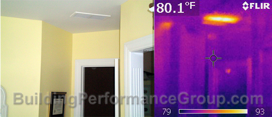 Thermal image of same area AFTER air-sealing attic penetrations