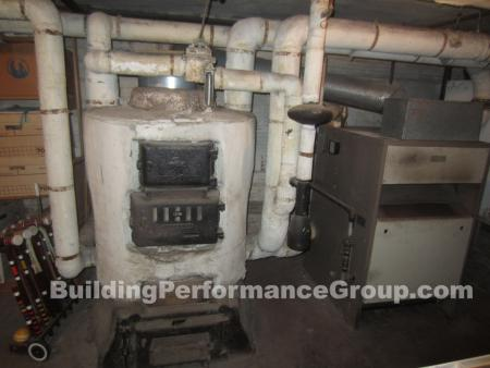 boiler with asbestos all over it