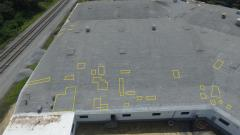 Wet roof areas marked